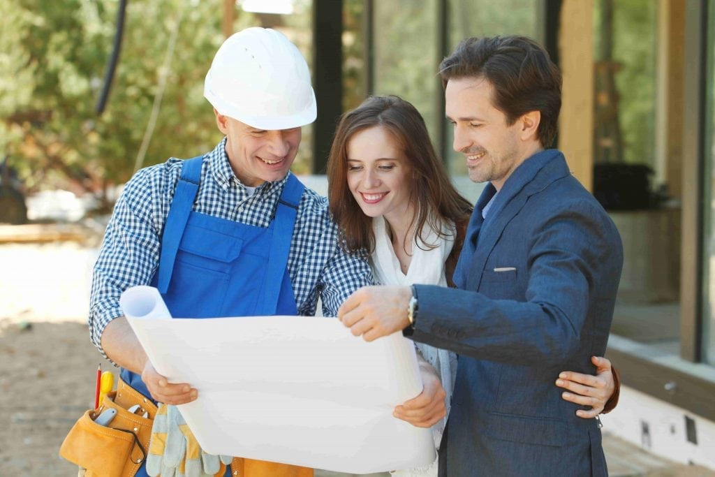 Residential customer choosing designs with a contractor