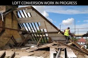 buildingconstructor previous loft conversion work site - worker fixing lofts at hillingdon, north london