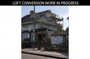 buildingconstructor previous loft conversion work site side at hillingdon, north london