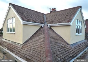 two square hipped roof dormer extensions on semi detached house